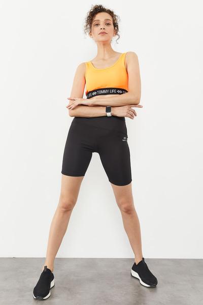 Tommy Life Toptan Neon oranj Kadın Yazı Şeritli Standart Kalıp U Yaka Spor Büstiyer - 97113 - Thumbnail