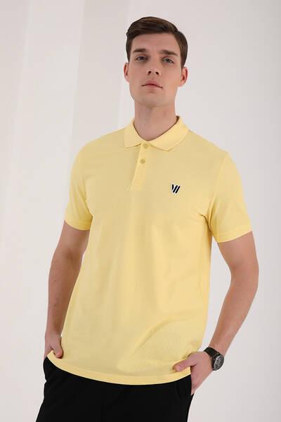 TommyLife - Tommy Life Toptan Sarı Erkek Basic Göğüs Logolu Standart Kalıp Triko Polo Yaka T-Shirt - 87768