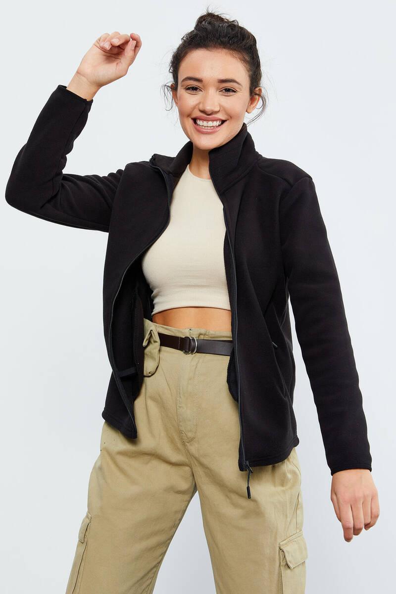 TommyLife - Tommy Life Toptan Siyah Kadın Dik Yaka Fermuarlı Rahat Form Polar Sweatshirt - 97173