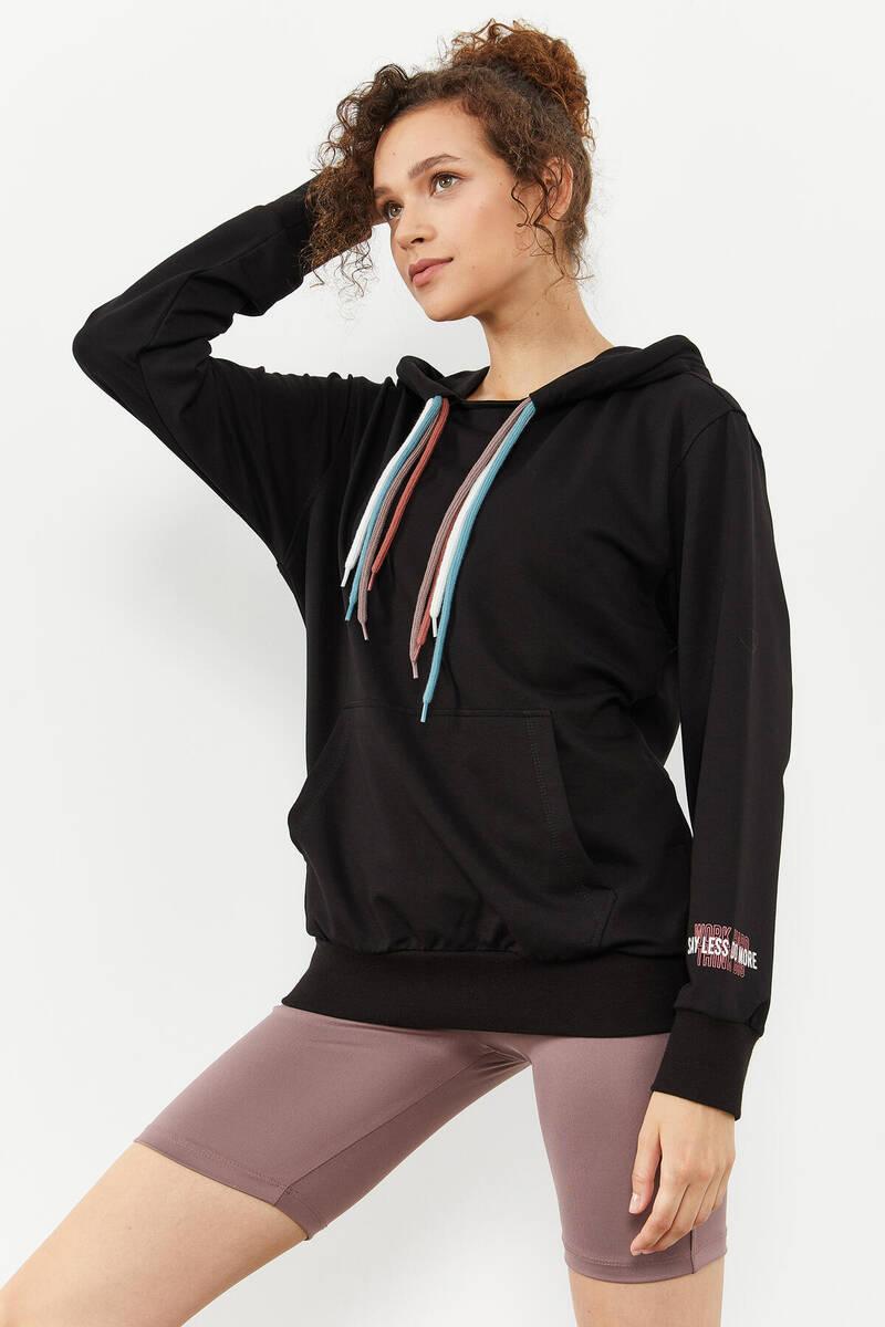 TommyLife - Tommy Life Toptan Siyah Kadın Dört Renk Bağcıklı Oversize Sweatshirt - 97157