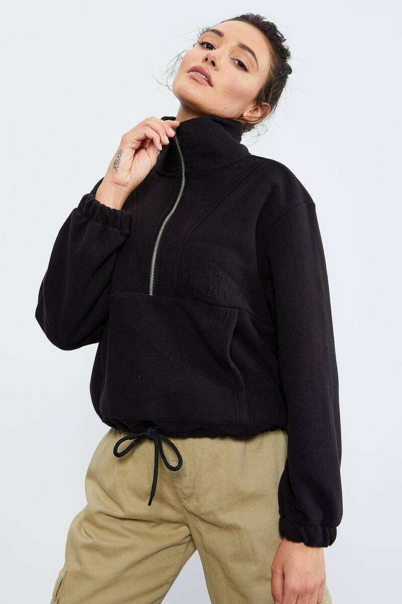 TommyLife - Tommy Life Toptan Siyah Kadın Yarım Fermuar Etek Ucu Büzgülü Oversize Polar Sweatshirt - 97171