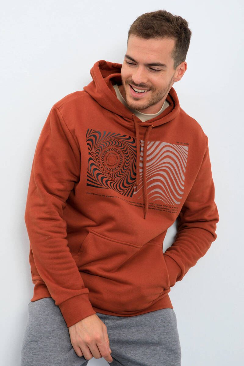 TommyLife - Tommy Life Toptan Tarçın Erkek Desen Baskılı Kapüşonlu Rahat Form Sweatshirt - 88030