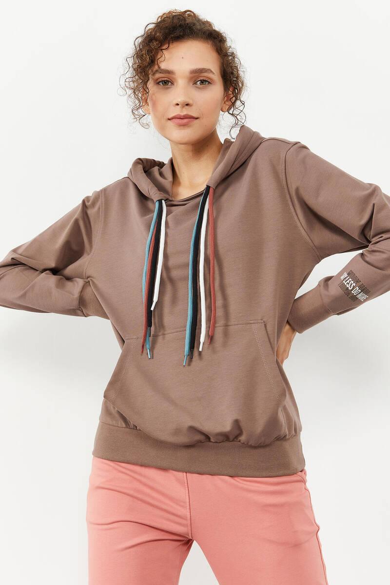 TommyLife - Tommy Life Toptan Toprak Kadın Dört Renk Bağcıklı Oversize Sweatshirt - 97157