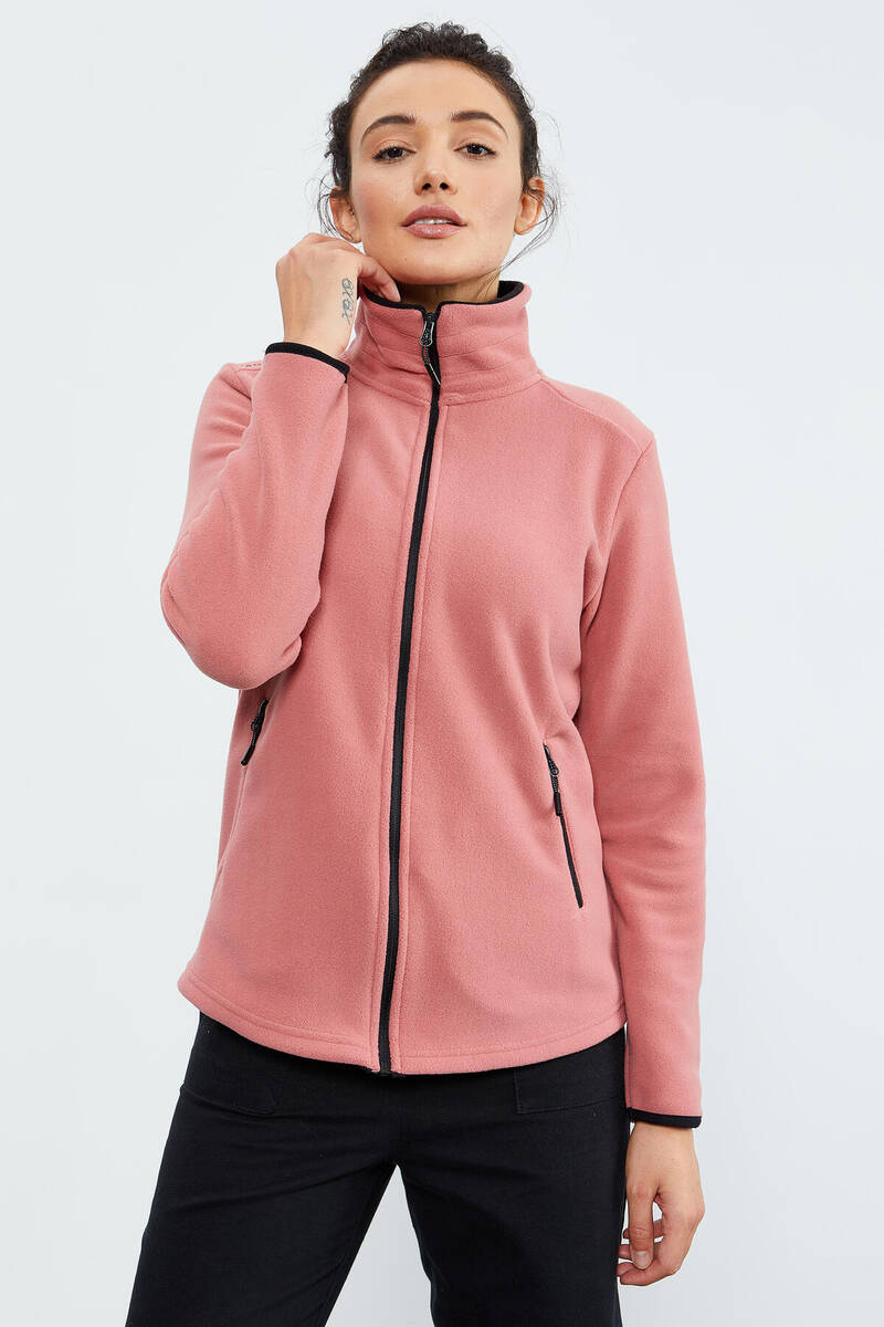 TommyLife - Tommy Life Toptan Yaban Gülü Kadın Dik Yaka Fermuarlı Rahat Form Polar Sweatshirt - 97173