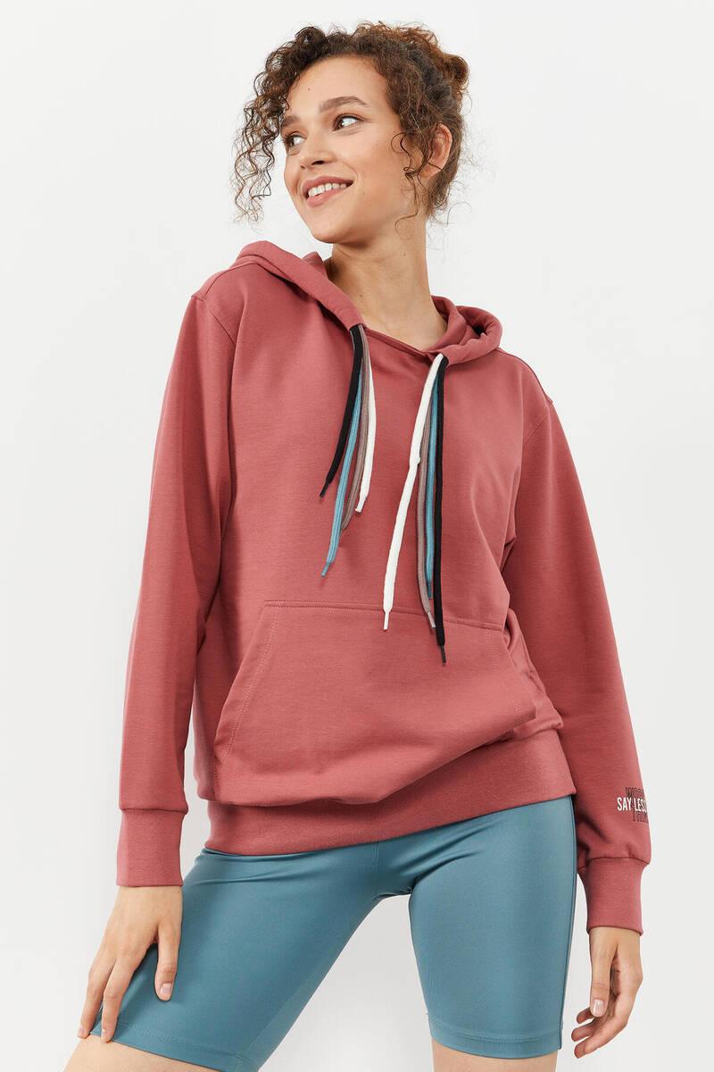 TommyLife - Tommy Life Toptan Yaban gülü Kadın Dört Renk Bağcıklı Oversize Sweatshirt - 97157