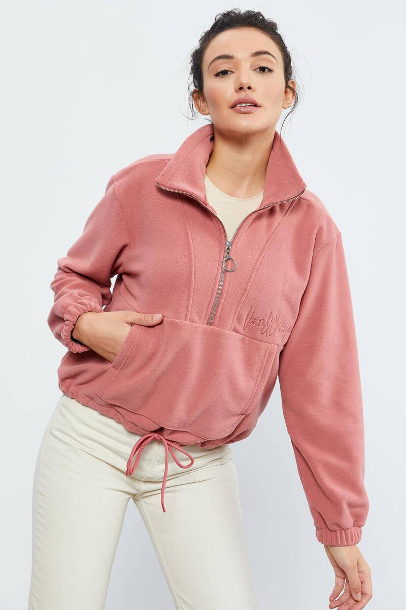 TommyLife - Tommy Life Toptan Yaban Gülü Kadın Yarım Fermuar Etek Ucu Büzgülü Oversize Polar Sweatshirt - 97171