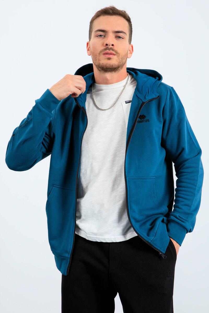 TommyLife - Tommy Life Toptan Zümrüt Erkek Basic Kapüşonlu Nakış Detaylı Fermuarlı Sweatshirt - 88035
