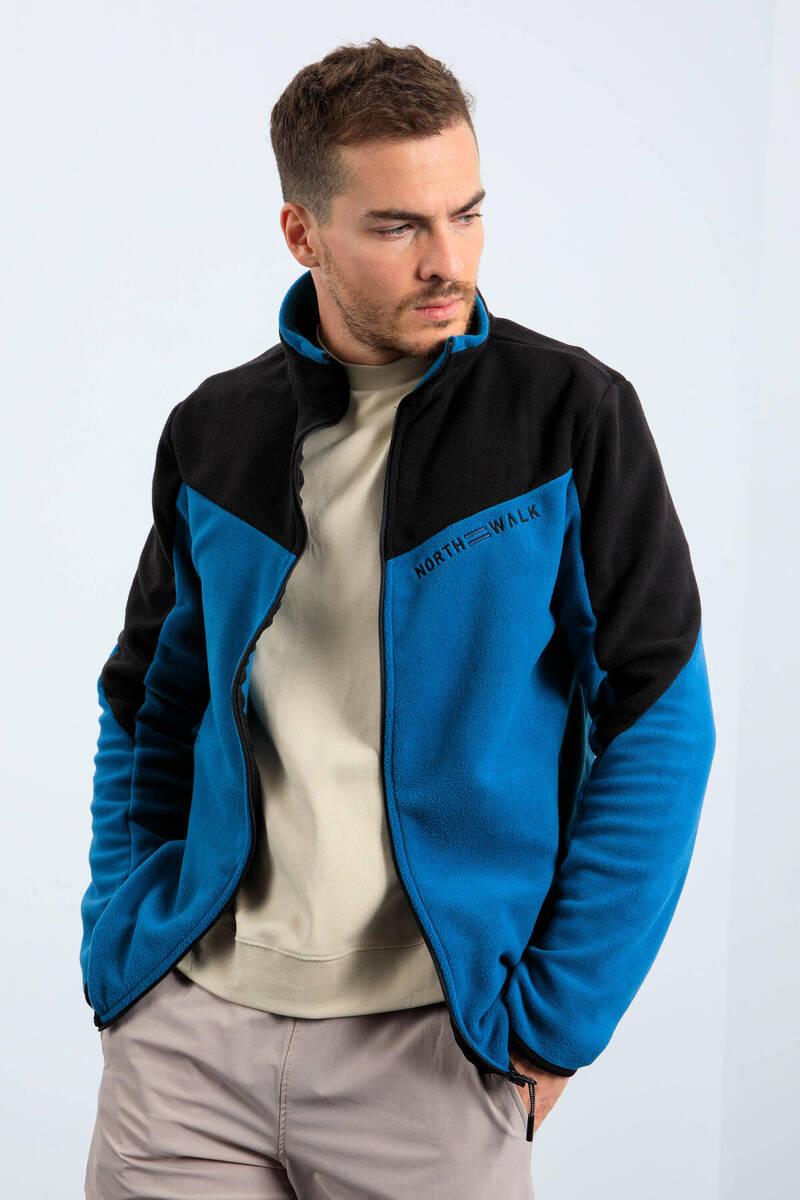 TommyLife - Tommy Life Toptan Zümrüt Erkek İki Renkli Fermuarlı Dik Yaka Standart Kalıp Sweatshirt Polar - 87994