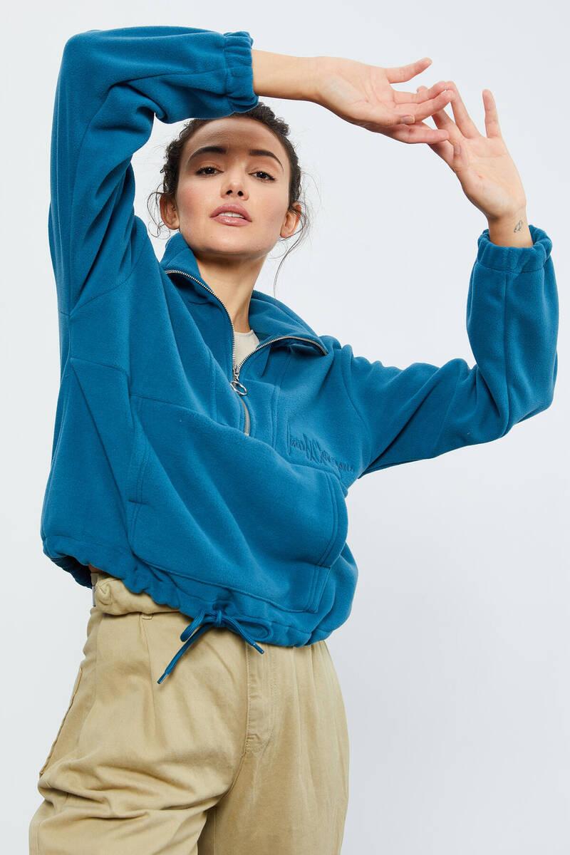 TommyLife - Tommy Life Toptan Zümrüt Kadın Yarım Fermuar Etek Ucu Büzgülü Oversize Polar Sweatshirt - 97171
